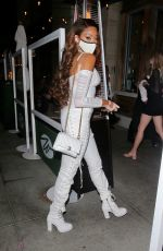 Winnie Harlow Puts on a busy display in all white as she is spotted arriving for dinner in Beverly Hills