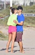 Alessandra Ambrosio Enjoys some time on the beach playing voleyball with her beau in Santa Monica