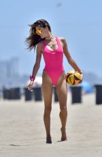 Alessandra Ambrosio Playing volleyball on the beach in Santa Monica