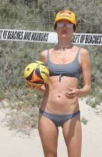 Alessandra Ambrosio Plays volleyball with her boyfriend and friends on the beach in Malibu