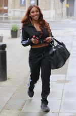 Alexandra Burke Beams a huge smile as she arrives for rehearsals for Joseph & The Amazing Technicolour Dreamcoat in London