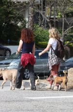 Alicia Silverstone Walks her dogs with a friend in Los Angeles