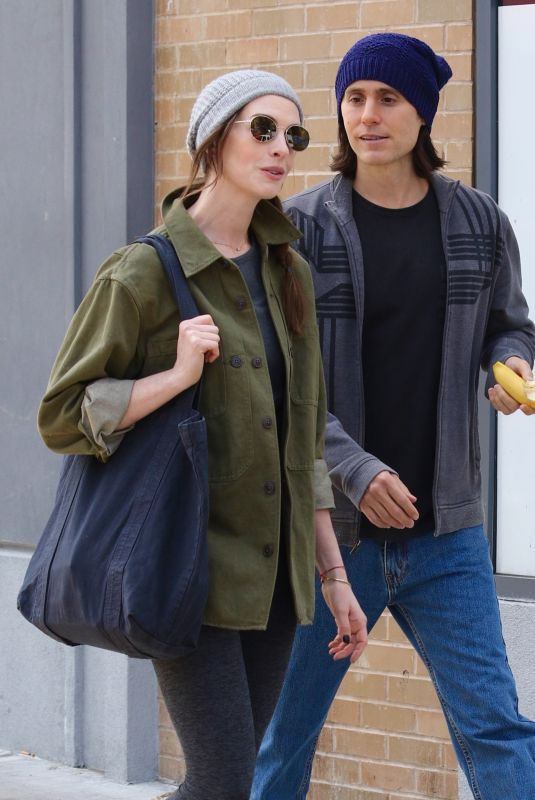 """Anne Hathaway & Jared Leto Seen filming the Apple Tv Show """"WeCrashed"""" in New York City"""
