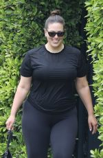 Ashley Graham Flashes a grin as she exits a private pilates class in West Hollywood