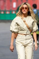 Ashley Roberts Pictured at Heart radio in beige coords in London