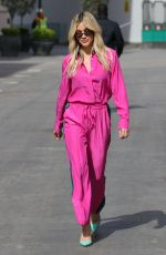 Ashley Roberts Stuns in a pink shell suit at Heart radio studio in London