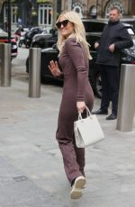 Ashley Roberts Stuns in brown catsuit at Heart radio in London