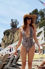 Blanca Blanco Slips into sexy animal print bikini at Paradise Cove in Malibu