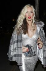 Caprice In a metallic silver figure hugging dress as she heads to private member's club Annabel's for a night out in London