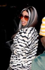 Cardi B Leaves the popular celebrity hotspot Craig's in West Hollywood