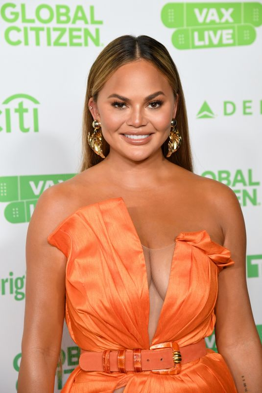 Chrissy Teigen At Global Citizen Vax Live: The Concert to Reunite the World at SoFi Stadium in Inglewood