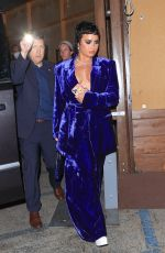 Demi Lovato Stuns in a blue dress leaving Craig's in West Hollywood
