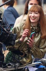 Eleanor Tomlinson In good spirits as she films scenes on a boat on the harbourside in Bristol for the new BBC drama The Offenders