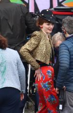 Eleanor Tomlinson Is spotted looking all dressed up on the set of the upcoming BBC series The Offenders in Bristol