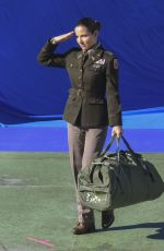 """Elsa Pataky Stands to salute dressed in a military uniform on set of her Netflix film """"Interceptor"""" in Sydney"""