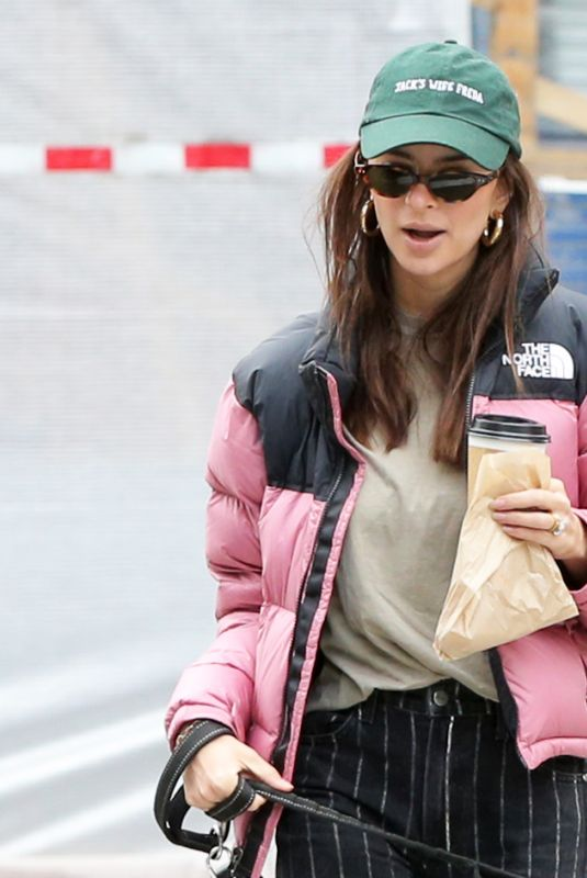 Emily Ratajkowsk and Sebastian Bear-McClard walk home with their son Sylvester Apollo Bear and dog Colombo after brunch in Soho in NY