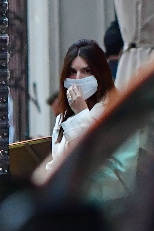 Emily Ratajkowski And Sebastian Bear-McClard leave their newborn baby boy Sylvester at home as they go out for an early dinner together in New York