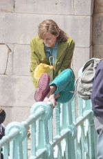 Emma Corrin Is playful between takes as she films My Policeman with Harry Styles in Brighton