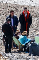 Emma Corrin On the set of My Policeman on the beach in Brighton