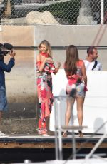 Erin Cummings & Nadine Mirada Are seen during a photoshoot for Guess Jeans in Marina Del Rey