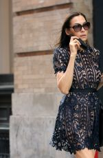 Famke Janssen In a black faux see-through dress and flats in New York City