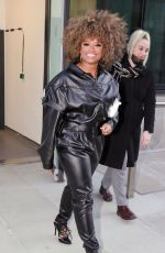 Fleur East Wearing a leather one piece black jumpsuit as she makes an appearance on BBC