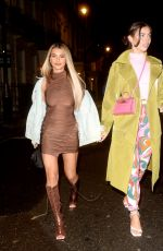 Francesca Allen and Joanna Chimonides enjoying a night out together leaving the MNKY HSE Restaurant in London