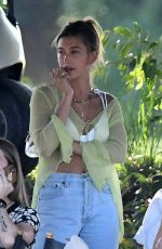 Hailey Baldwin/Bieber Visits husband Justin Bieber on the set of a music video in Miami