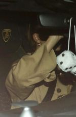 Hailey Bieber Keeps it low key as she hides from the cameras while leaving dinner in Los Angeles