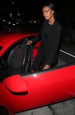 Jasmine Tookes Drives off in her new red hot Lamborghini after dinner at Craig