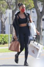Jasmine Tookes Wears her workout clothes while out shopping in Beverly Hills