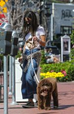 Jordana Brewster Takes her son Rowan and family dog along on a mid-day coffee run in Pacific Palisades
