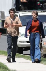 """Kate Mara Walks from set after rehearsing a scene on the set of """"Call Jane"""" in Hartford"""