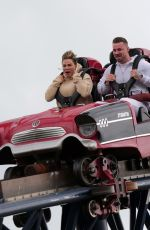 Katie Price And Carl Woods enjoy a day of fun and thrills at Thorpe Park adventure park in Surrey with friends