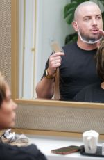 Katie Price And fiancee Carl Woods seen in Knightsbridge where Katie visits the R.H.London Salon