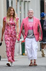 Kelly Bensimon and fashion designer Nick Wooster seen heading to Sant Ambroeus to have lunch with Josh Tepper in New York City
