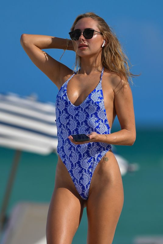 Kimberley Garner In a blue thong swimsuit in Miami Beach