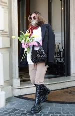 Lady Gaga Leaves the Boscolo hotel in Rome after a month and a half of work on the set of the film Gucci