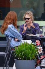 Lauren Hutton Gets animated while having lunch with friends in Manhattan's Soho area