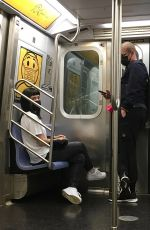 Lily Allen and husband David Harbour are true New Yorkers riding the Subway in NYC
