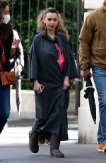"""Lily Collins Arrives the set of """"Emily in Paris"""" in Paris"""