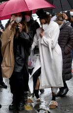 Lily Collins & Ashley Park Are seen on the set of the Netflix series