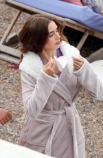 Lily Collins Filming scenes for