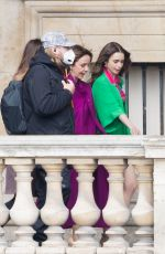 """Lily Collins Shooting scenes of """"Emily in Paris"""" season 2 at Le Louvre in Paris"""