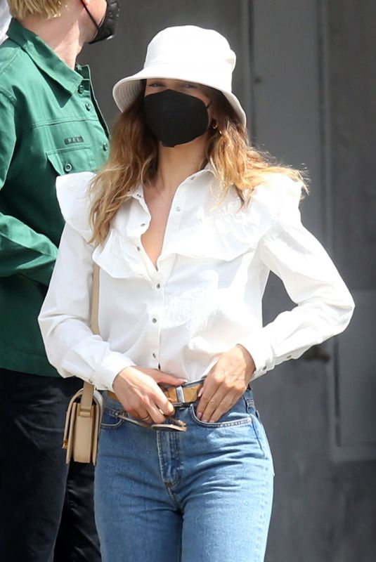 Lily James Is back to brunette but her rocker boyfriend Michael Shuman is now platinum blond as couple heads out for lunch in trendy West Hollywood