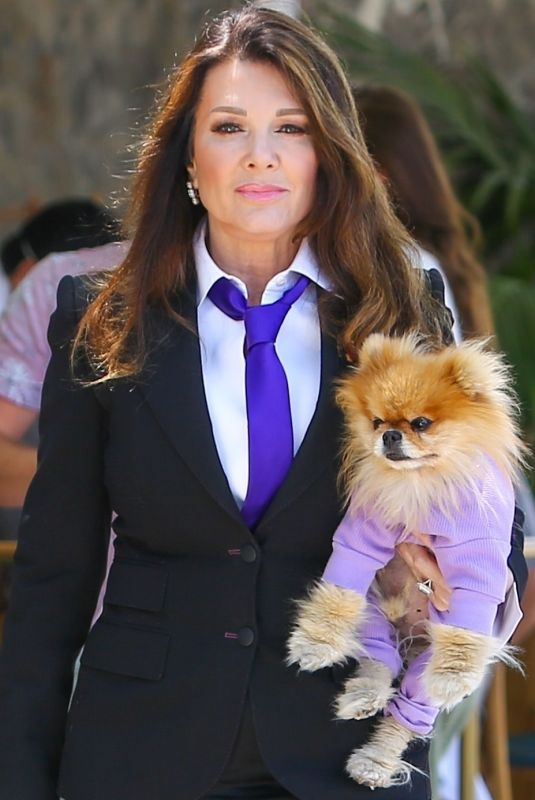 Lisa Vanderpump And her dog get dressed to the nines for lunch at Bottega Louie in West Hollywood