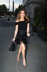Lizzie Cundy Enjoys a night out with a girl friend at Milos in Regent Street in London