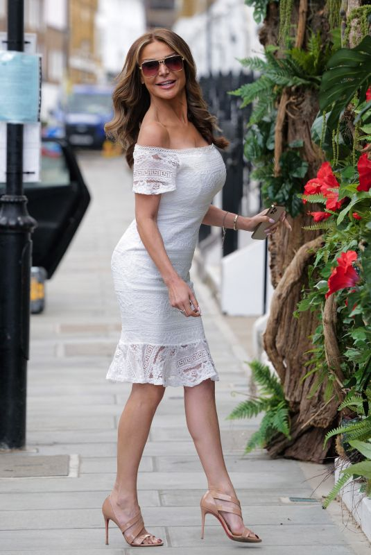 Lizzie Cundy Wears A Form Figure Hugging White Mini Dress As She Leaves Her Favourite Hair Salon