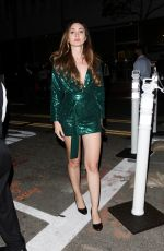 Megan Pormer Shimmers in a green sequin dress while leaving a late dinner at Salt Bae