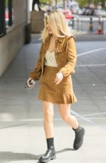 Mollie King Looks stunning in a suede mini skirt and matching top at BBC radio 1 in London